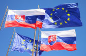 Flags of EU and Slovakia — Stock Photo