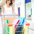 Young woman with multi-coloured bags — Stock Photo #1211102