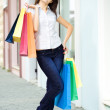 Young woman with multi-coloured bags — Stock Photo #1211582
