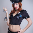 Beauty sexy police woman — Stock Photo