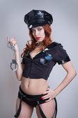Beauty sexy police woman — Stock Photo