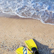 Fins lie on the sand — Stock Photo
