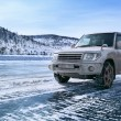 Jeep on the ice — Stock Photo
