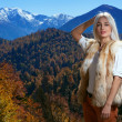 Woman in snow mountain — Stock Photo