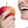 Beauty woman with apple  — Stock Photo