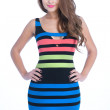 Beauty woman in colored stripe dress — Stock Photo