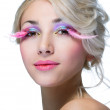Beauty woman with pink eyelashes — Stock Photo