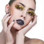 Постер, плакат: Beauty woman with long yellow lashes and black lips