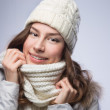 Beauty woman in scarf and hat — Stock Photo