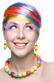 Beauty woman with bright makeup — Stock Photo