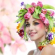 Beauty woman portrait with wreath from flowers — Stock Photo #41217459