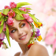 Beauty woman portrait with wreath from flowers — Stock Photo #41217469