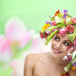 Beauty woman portrait with wreath from flowers — Stock Photo #41217493