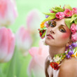 Beauty woman portrait with wreath from flowers — Stock Photo #41217509
