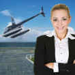 Stock Photo: Business womand helicopter
