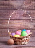 Easter eggs on wood — Stock Photo