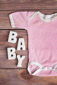 Word baby and child clothing  — Stock Photo