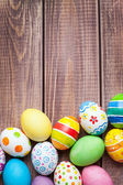 Easter eggs on wooden — Stock Photo