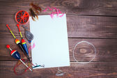 Fishing gear on wooden boards with empty place — Stock Photo