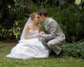 Bride and groom in a park — Stock Photo