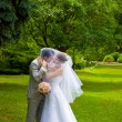 Bride and groom in park — Stock Photo #16236769