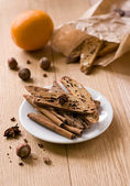 Biscotti and orange — Stock Photo