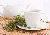 Cup of herbal tea and teapot — Stock Photo