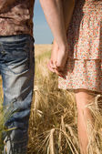 Loving couple holding hands on nature — Stock Photo