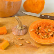 Sliced Pumpkin and knife — Stock Photo #30933599