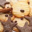 Cookies, coffee and cinnamon — Stock Photo