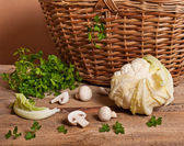Cauliflower, parsley and mushrooms — ストック写真