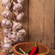 Foto Stock: Garlic and pepper