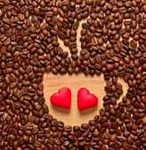 Coffee beans cup and two heart — Stock Photo