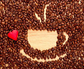 Coffee beans cup and heart — Stock Photo