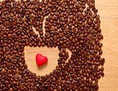 Coffee beans cup and heart — ストック写真