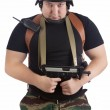 Soldier in the helmet with the rifle — Stock Photo