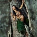 Indigene woman in the lians — Stock Photo