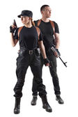 Police officers with guns — Stock Photo