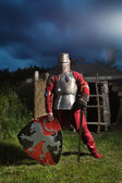 Medieval knight in the armor with the sword and shield — Stock Photo