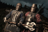 Squad of two medieval knights — Stock Photo