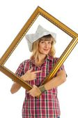 Woman in the process of renovating — Stock Photo