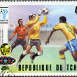 CHAD - 1977: shows World Cup Emblems and Saving a Goal, devoted World Cup Soccer Championship, Argentina 1978 — Stock Photo