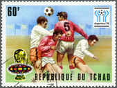 CHAD - 1977: shows World Cup Emblems and Heading the ball, devoted World Cup Soccer Championship, Argentina 1978 — Zdjęcie stockowe