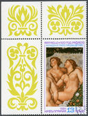 "BULGARIA - 1984: shows ""Cupid and the Three Graces"", Raphael, 500th birth anniversary — Stock Photo"
