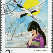 HUNGARY - 1987: shows the White Crane, from Japan, Fairy Tales series — Stock Photo