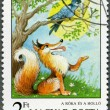 Royalty-Free Stock Photo: HUNGARY - 1987: shows the Fox and the Crow, Aesops Fables, Fairy Tales series