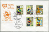 SAN MARINO - 1970: shows Disney Characters: Black Pete, Gyro Gearloose, Pluto, Minnie Mouse, Donald Duck — Stock Photo