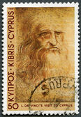 CYPRUS - 1981: shows Self-portrait, by Leonardo Da Vinci, Da Vinci's visit to Cyprus, 500th anniversary — Stock Photo