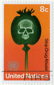 UNITED NATIONS, OFFICES IN NEW YORK - 1973: shows Poppy Capsule and Skull, Stop Drug Abuse — Stock Photo