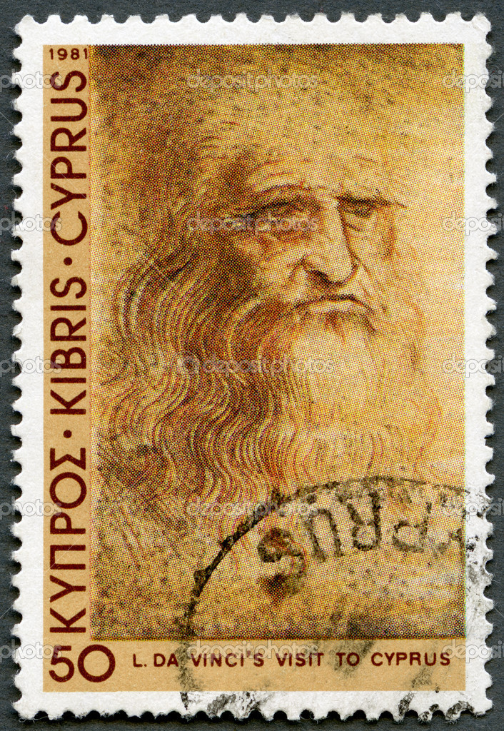 CYPRUS - CIRCA 1981: A stamp printed in Cyprus shows Self-portrait, by Leonardo Da Vinci, Da Vinci's visit to Cyprus, 500th anniversary, circa 1981 — Stock Photo #12386691